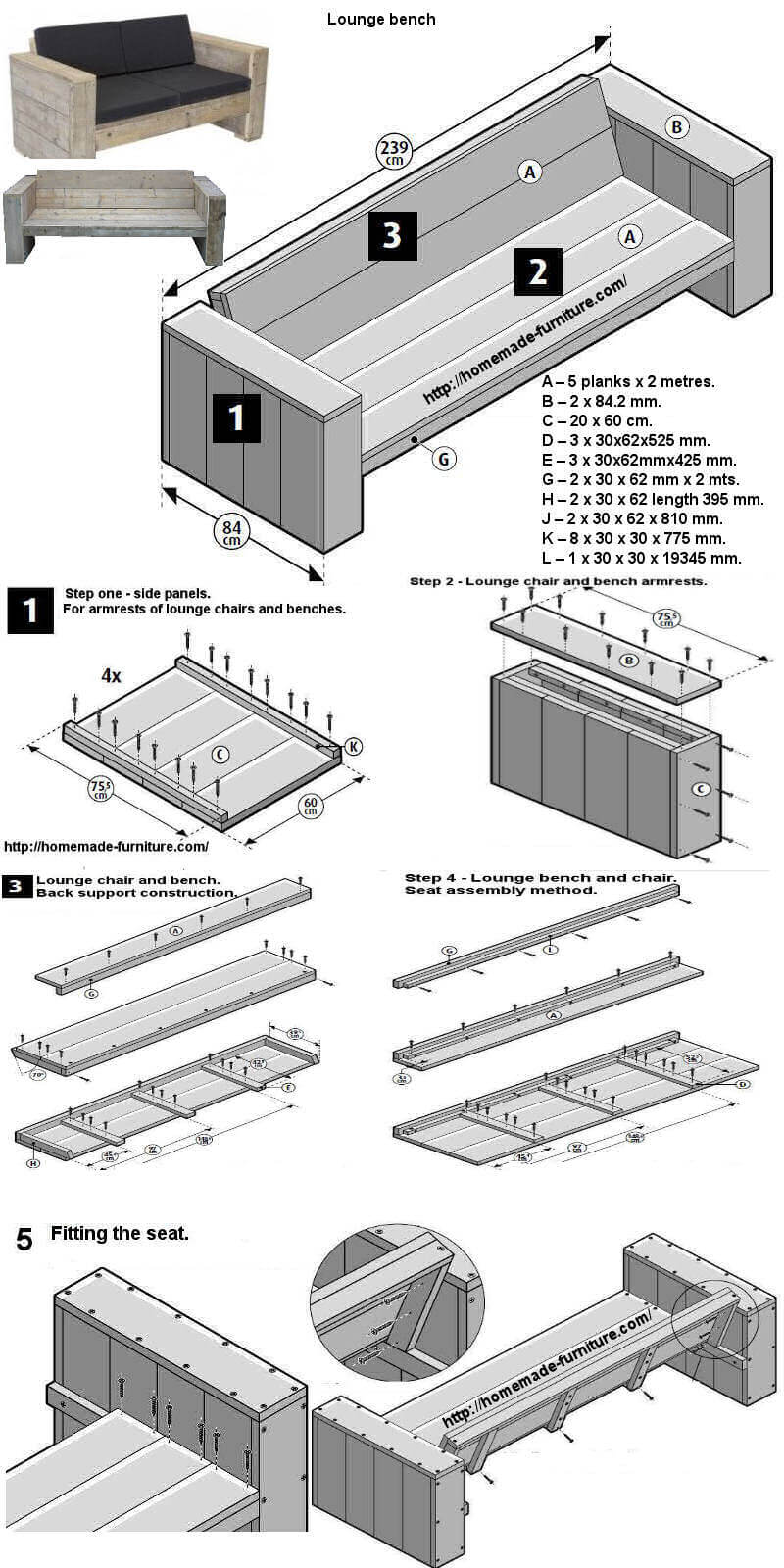 Free construction drawings for a homemade garden bench.