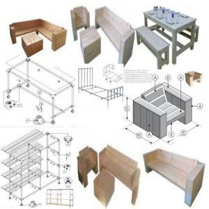 Plans for homemade furniture from cheap materials.