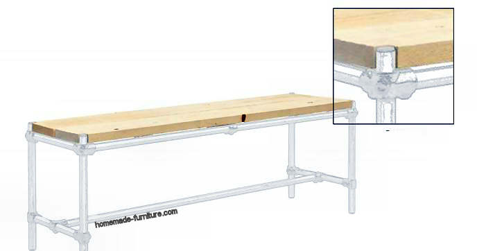 Tabletop fitting on top of the table frame - make the seat on top of the bench frame.