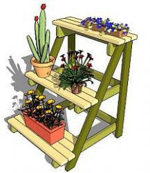 A-Frame rack for a cascading garden on 3 levels.