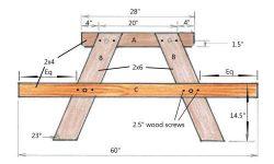 DIY picnic table construction drawing.