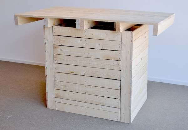 High tables made with pallets, for use with bar stools.