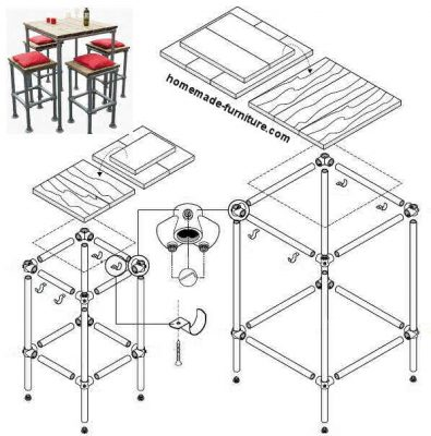 Construction drawing, plan to make a barstool and high bar tables from repurposed scaffolding.