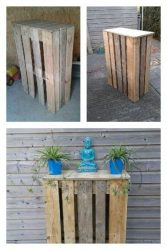 Vertical planks from pallets were used to make these high tables for outside at a garden bar.