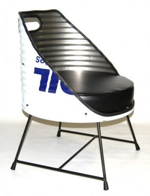 Designer chair made from a used oil barrel.