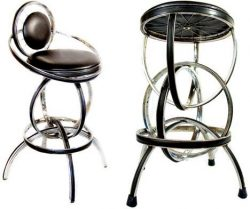 Reclaimed bicycle parts, repurposed wheels of a bike as barstool.
