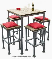 Table and stools made from repurposed scaffolding.