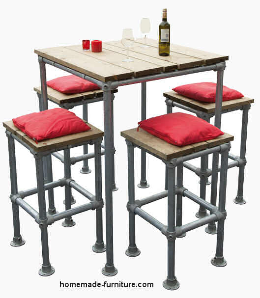 Table And Stools Made From Repurposed Scaffolding. Barstools ...