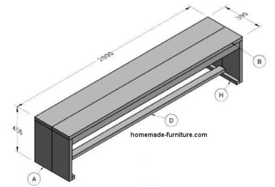 How to make a garden bench of scaffolding wood, free woodworking plans.