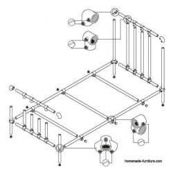 How to make a single bed with scaffolding tubes and tube connectors.