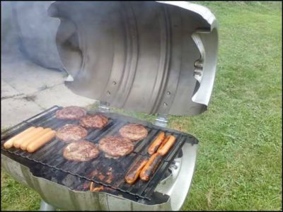 BBQ made from repurposed beer barrel, recycled as barbecue.
