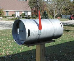 Small size beerkeg used as mailbox.