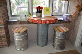 Beerkegs recycled as stools.