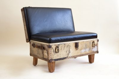 Low bench made from a pretty antique suitcase.