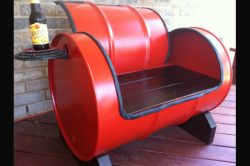 Designer bench made from a recycled oil barrel.