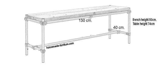 Sizes of the finished bench. Tables usually have a height of about 72 cms.