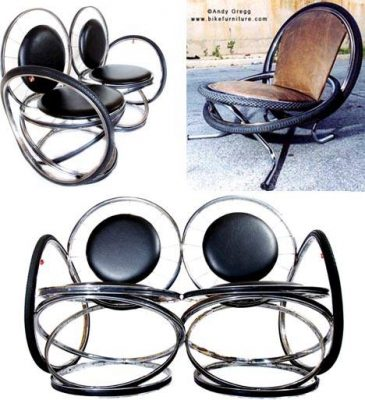 Reclaimed bicycle wheels as chairs - recycling art.