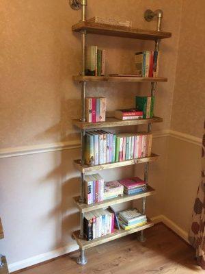 Tall shelves for books.