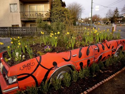 Reclaimed car wreck in use as garden planter bed.