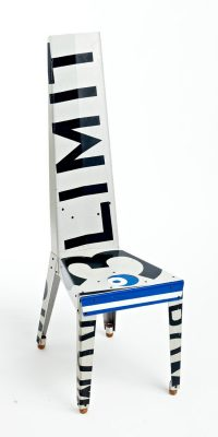 Repurposed street signs as high chair, recycling art.