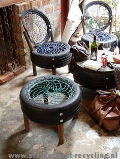 Chairs and side table made from repurposed tires.
