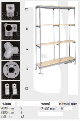 Parts list for assembly of a storage unit from scaffolding tubes and planks.