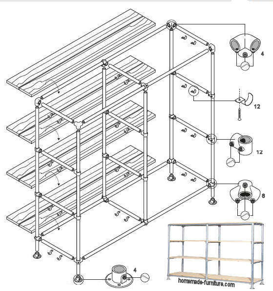 Storage rack from metal pipes with wooden shelves.