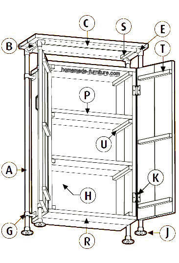 Parts list for a wooden cupboard with frame from steel scaffold pipes.