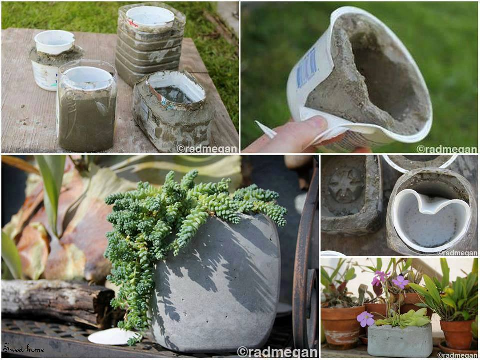 Molds to make planters from concrete.