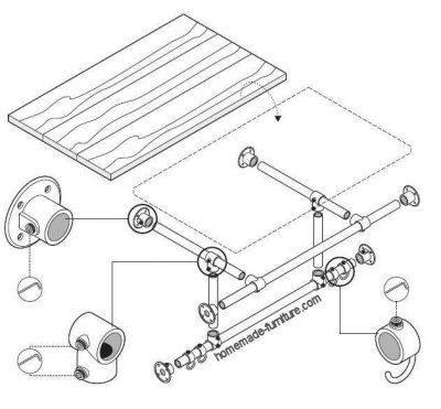 Construction plan, drawing to make a clothes rack and wardrobe.
