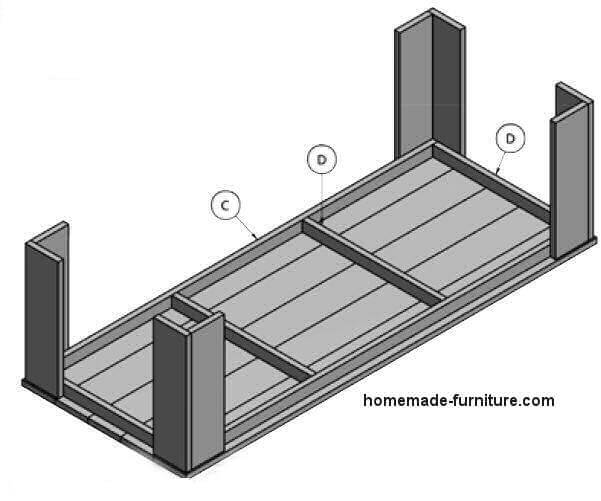 Upside down construction drawing for a wooden dining table.