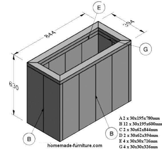 Planter made of wood, free construction plans and drawings.
