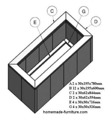 Home made wooden planter construction drawings and woodworking plan.