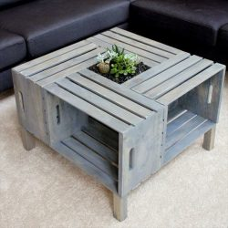 Table made from crates, lounge coffee table with integrated planter.