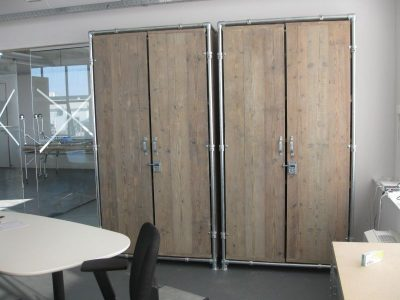 Cupboards made from reclaimed scaffolding.