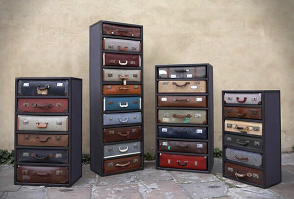 Repurposed suitcases and trunks for chests and drawers.