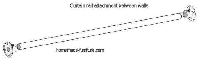 Curtain rail fitting between two walls.