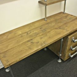 Desk made from scaffolding pipes and reclaimed scaffold boards.