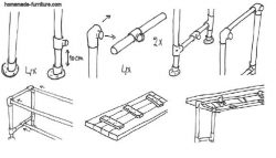 Step by step assembly of the scaffolding parts to make a dining table.