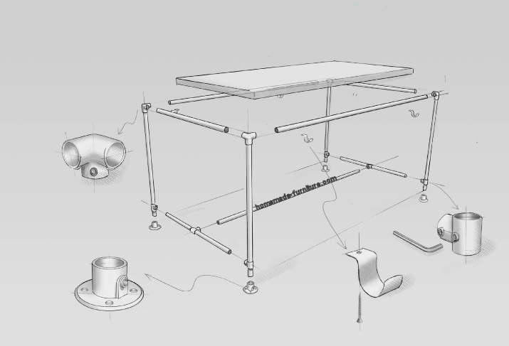 Construction drawing how to make a scaffold tube table frame with thick tubes from scaffolding.