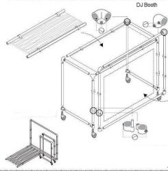 Construction drawing to make a DJ booth from scaffold tubes.
