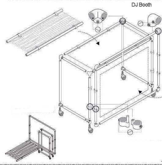 Construction Drawing To Make A DJ Booth From Scaffold Tubes