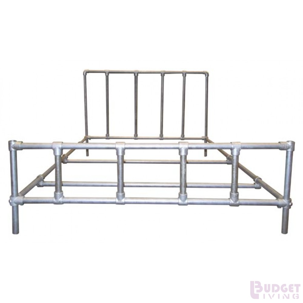 Make a strong double bed with tubes and connections from scaffolding.