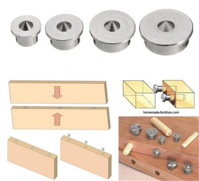 Tool for aligning dowel and tenon.