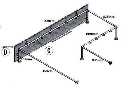 Hallway wardrobe, scaffold rail for coats and a wooden shelf