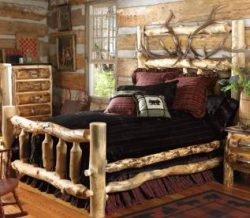 Bed made from spruce and branches.