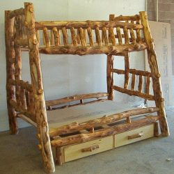 Homemade farmhouse style bed for children.