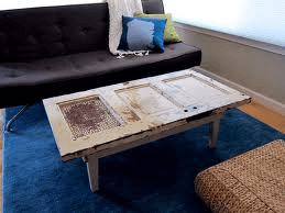 Farmhouse coffee table made from old doors.
