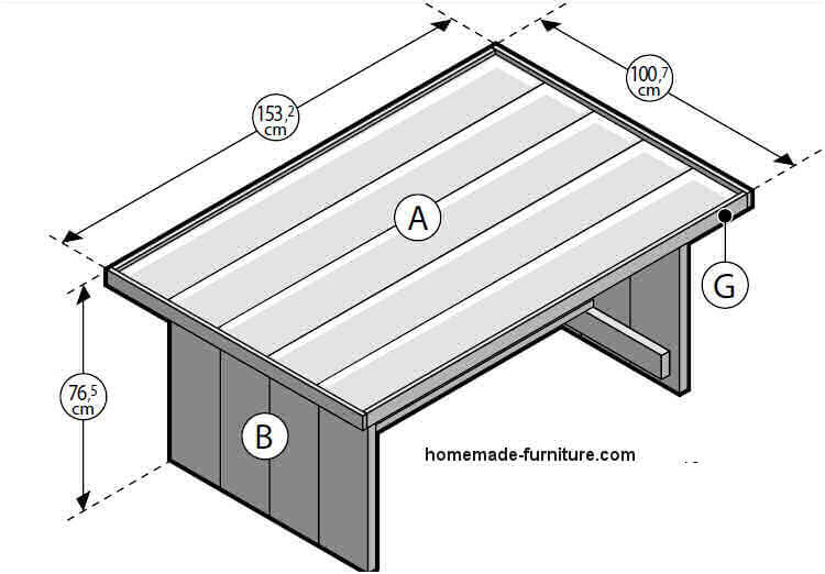 Construction plan to make a farmhouse table from reclaimed wood.
