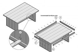 Detailed construction drawing how to make a farmhouse table from reclaimed scaffold planks.